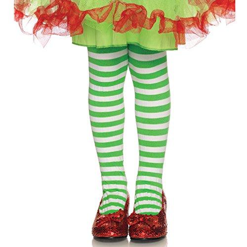 Leg Avenues Childrens Striped Tights, White/Kelgr, Medium