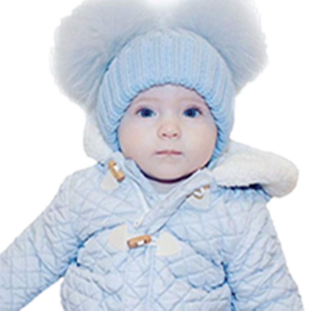 MIOIM Unisex Badymütze Winter Beanie Strickmütze Hüte Waschbärpelz Mützen Wolle kappe für Baby Mädchen Jungen DEHAZ2*223435906