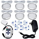 LED Display Cabinet Lighting, Dimmable Ultra Thin 6 Pack 1020 LM LED Puck Lights with Wireless Remote Controller, Warm White Under Cabinet, Counter, Kitchen, Closet Lighting, All in Kit