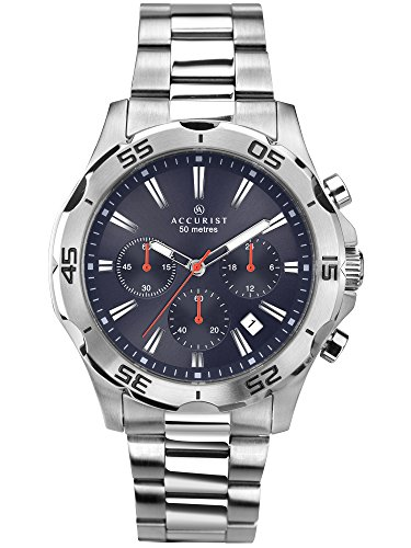 Accurist Gents Blue Dial Analogue Chronograph Watch with Silver Stainless Steel Bracelet 7024