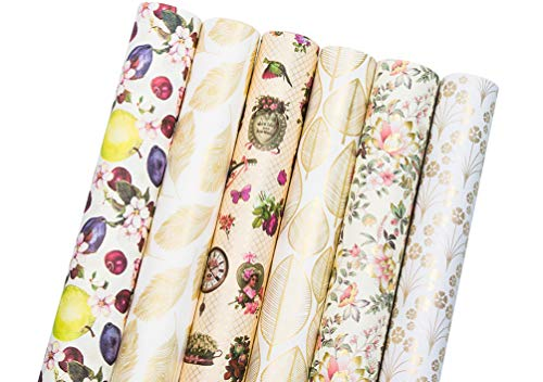 UNIQOOO Premium Assorted Gold Wrapping Paper 6 Design w/ 4sheets Each(24 Sheets Total PRECUT) Packed into 3 Rolls,Floral Washi Style, Cut Size 27½
