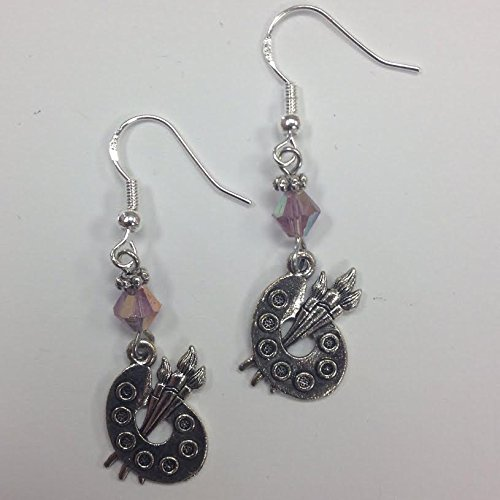 artist-palette-or-painter-earrings-on-sterling-silver-earwires-with-purple-faceted-crystal-accent-be