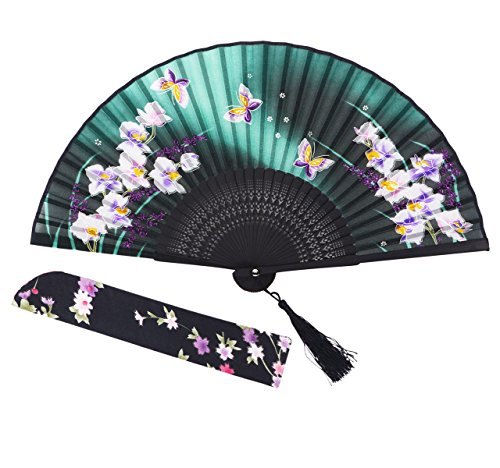 "Amajiji 8.27""(21CM) Chinease/Japanese Vintage Retro Style Design Bamboo Silk Folding Hand Held Fan (HQJ-21)"