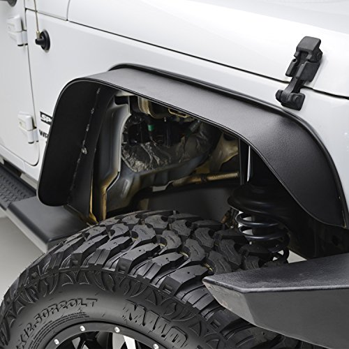 E-Autogrilles Black Textured Flat Steel Front+Rear Fender Flares for 07-17 Jeep Wrangler JK (51-0356) (2015 Jeep Wrangler Fenders compare prices)
