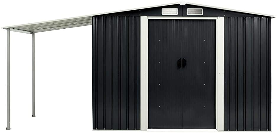 Tidyard Cobertizo jardín Robusto y Duradero Puertas correderas Acero Gris con 4 persianas de ventilación 386x131x178 cm: Amazon.es: Hogar