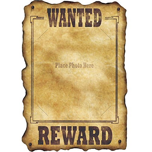 Western Wanted Sign (slotted to hold 8 x10 photo) Party Accessory  (1 count) (Halloween Wanted Poster)