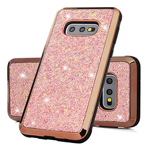 (Samsung Galaxy S10e Case, Crystal Clear Bling Shiny Glitter Shimmer Pieces Drop Resistant Shockproof Soft TPU Bumper Frame Acrylic Shell Back Shock Absorption Ultral Slim Cover Rose Gold)