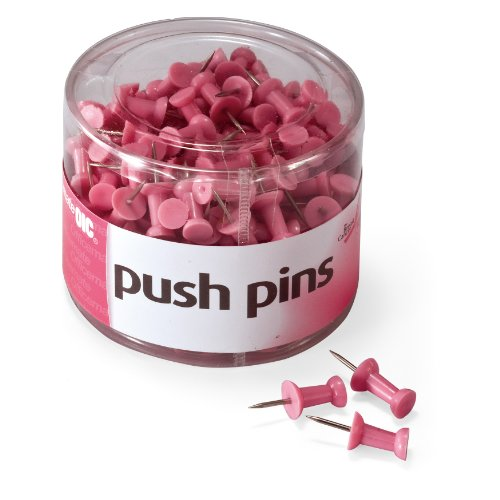 Officemate Breast Cancer Awareness Push Pins, 200 per Tub, Pink (08906) Cancer Research Pins