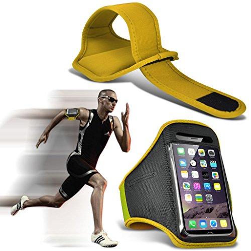 (Yellow) Huawei P9 Hülle Abdeckung Cover Case schutzhülle Tasche Einstellbare Sport Armband Fall Abdeckung für Laufen Jogging Radfahren Gym By Fone Case® Yellow (XL)
