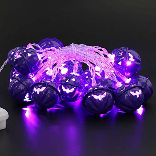Decorate Work Cubicle For Halloween (20 LED Halloween Decorations String Lights, Purple Pumpkin Lights Battery Operated, 10ft Halloween Party Decor, 8 Lighting Modes, Purple Color)