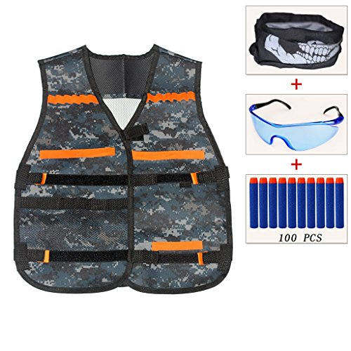 ENNRUI Kids Camouflage Tactical Vest Jacket Kit (with 100pcs Blue Foam Darts + Protective Goggles Glasses + Seamless Face Mask ) for Nerf Toy Gun N-strike Elite Series