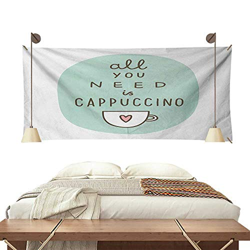 Jinguizi Funny Words Bedroom Tapestry All You Need a Cappuccino Quote with Cup of Coffee and Heart Tapestry Throwing Blanket 60W x 51L InchSeafoam Dark Brown Pale Pink