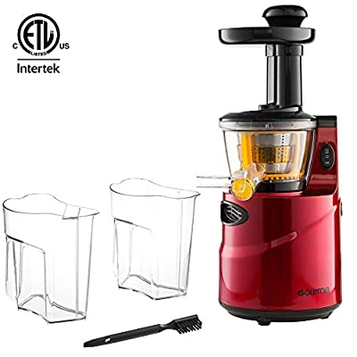 Gourmia GSJ-200 Masticating Slow Juicer, Max Nutrient Fruit and Vegetable Juice, Red from Gourmia