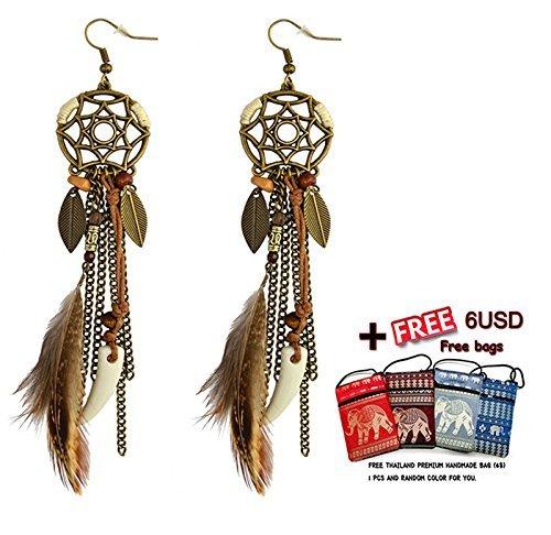 arete hechos a mano Atrapasueños Dream Catcher con plumas decoración + Gratis Tailandia Bolso de mano neta (st-earring +...