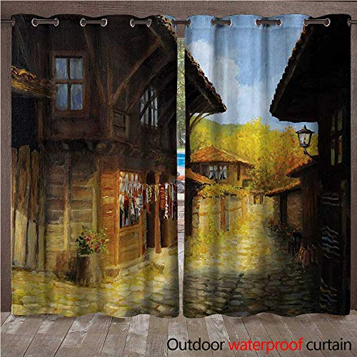 (WilliamsDecor Ancient Home Patio Outdoor Curtain Middle Age Wooden Houses in Fall Season Day Ottoman Balkans Traditional Style Print W108 x L84(274cm x 214cm))