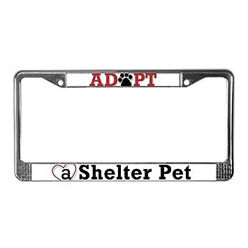 Save A Life Adopt A PET Chrome Metal Auto License Plate Frame Car Tag Holder
