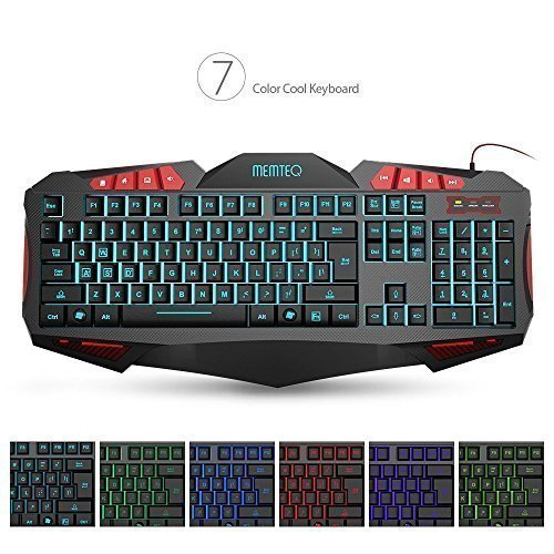 Board Led Compaq - MEMTEQ Adjustable 7 Color Backlit Pro USB Gaming Keyboard, Wired Multimedia Breathing Light Gamer Keyboard, Waterproof Oversized Ergonomic Design, 112 Keys