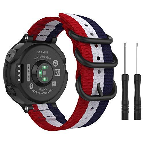MoKo Watch Band for Garmin Forerunner 235, Fine Woven Nylon Adjustable Replacement Strap for Garmin Forerunner 235/235 Lite / 220/230 / 620/630 / 735XT Smart Band - Blue & White & Red