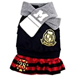 SELMAI Dog Formal Dress Small Pet Costume Puppy Coat Girl Dog Outfits Fleece Sweater with Skirt Scarf Student Uniform XS