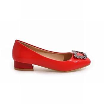 Women's Comfort Low Heel Rhinestone Round Toe Pump Shoes