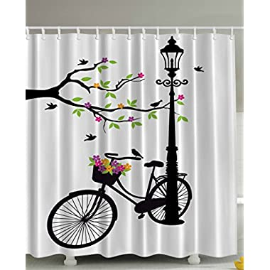 Spring Tree Hummingbirds Vintage Bike Basket with Colorful Flowers Blossom European City Decor for Abstract Art Prints French Street Lamp Fabric Shower Curtain Para Casa Black and White Green Purple