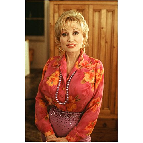 Dolly Parton in Pink Flowered Shirt and Large Beaded Necklace Purple Skirt 8 x 10 inch photo