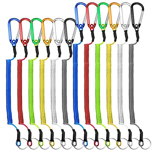 Dreamtop 12pcs Fishing Coiled Lanyard Multi-Colored Heavy Duty Safety Boating Rope Retractable Wire with Carabiner Lip Grips Tackle Fish Tools for Fishing Tools/Rods/Paddles