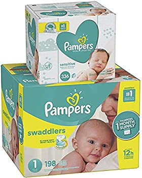 198-Count Pampers Swaddlers Disposable Baby Diapers & Baby Wipes