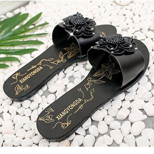 FEITONG Verano Dulce Flor Mujer Plano Dar la vuelta Flops Sandalias bohemias Zapatillas de playa Negro