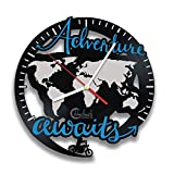 Adventure Awaits! World Map Globe, Gift for Traveler, Hobby Trip Vinyl Wall Clock, Earth Tour by Handmade Solutions