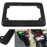 Motorcycle JDM Style 100% Real Carbon Fiber License Plate Frame Holder Black 3D Twill Weave Tag USA Scooter Chopper Bike