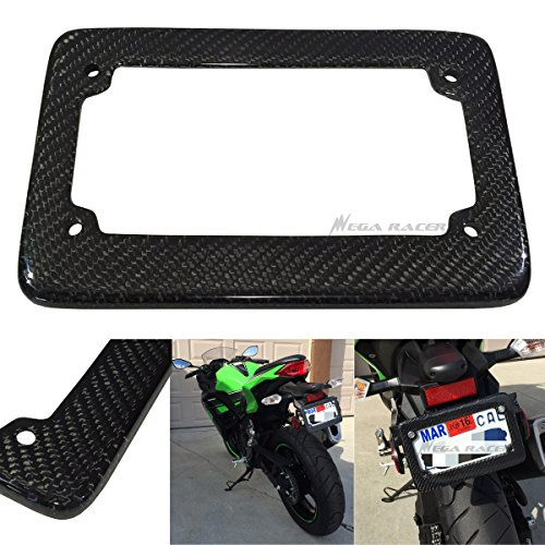 Universal 100% Carbon Fiber Motorcycle Rear License Plate Frame Holder Black 3D Twill Weave Tag USA Scooter Chopper Bike