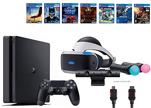 PlayStation VR Start Bundle 10 Items:VR Start Bundle,Sony PS4 Slim 1TB Console – Jet Black,7 VR Game Disc Until Dawn:Rush of Blood, EVE:Valkyrie,Battlezone,Batman:Arkham VR, DriveClub,Eagle Flight