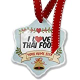 Add Your Own Custom Name, I Love Thai Food Christmas Ornament NEONBLOND