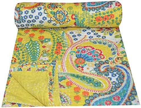 Indian Quilt Patchwork King Queen Single Handmade Bed cover Bedspread Paisley