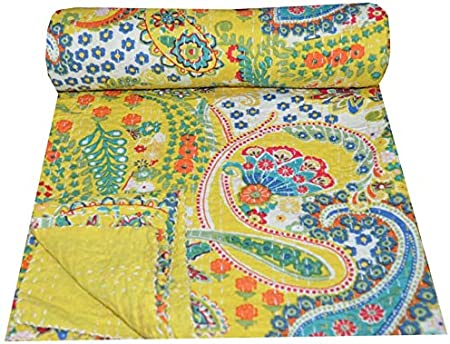 Indian Blue Paisley Reversible Kantha Quilt Handmade Bedspread Twin Throw Gudari