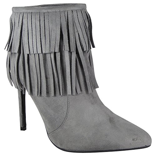 NEW TASSLE HEEL ZIP POINTED BOOTS STILETTO SHOES ANKLE WOMENS Grey TOE SIZE LADIES rqxEBrYF
