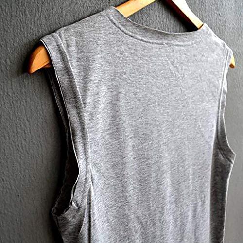 Gris Mangas De Blusas Mujer Impresión Camisa Deporte Chaleco Camiseta Escote Redondo Casual Sin Tops Amphia Suelto twZfBqHFpq