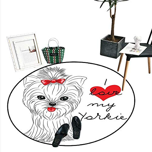 Yorkie Round Rug Kid Carpet I Love My Yorkie Cute Terrier with its Tounge Out Adorable Yorkshire Terrier Home Decor Foor Carpe (2'3
