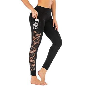 WYLYJTZ Pantalones De Yoga Encaje Pantalones de Yoga Bolsillo ...