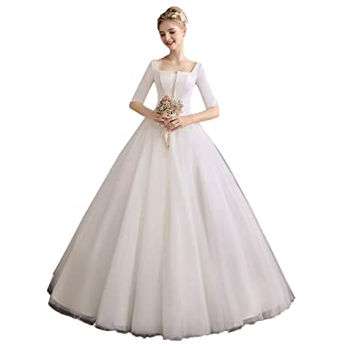 057ef02af7 wedding dress Simple Slim Satin Long Sleeve White Ball Gown Ailin Home:  Amazon.co.uk: Clothing