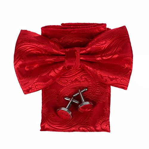 DBC3B01A Red Patterned Classy Internet Woven Microfiber Pre-tied Bow Tie Hanky Cufflinks Design For Evening By Dan (Woven Design Bow Tie)