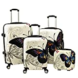 World Traveler 4 Piece Hardside Upright Spinner Luggage Set