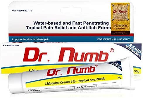 Dr. Numb Topical Anesthetic Numbing Cream   Maximum Strength Pain Relief Cream for Tattoo, Piercing, Skin Tag Removal, Waxing, Microblading, Microneedling, Dermarolling, Hair Removal, (1 Tube)