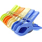 Zicome Set of 8 Beach Bath Towel Clips in 4 Fun Bright Colors for Beach Chair or Pool Loungers on Your Cruise - Keep Your Towels From Blowing Away