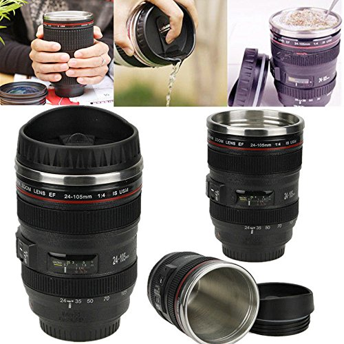 New Hot 24-105mm Stainless Lens Thermos Camera Travel Coffee Tea Mug Cup Gift
