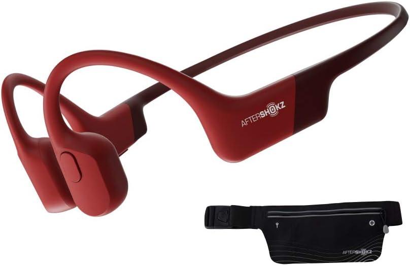 AfterShokz Aeropex, Auriculares Deportivos Inalámbricos con Bluetooth 5.0, Tecnología de Conducción Ósea, Diseño Open-Ear, Resistente al Polvo y al Agua IP67,Solar Red
