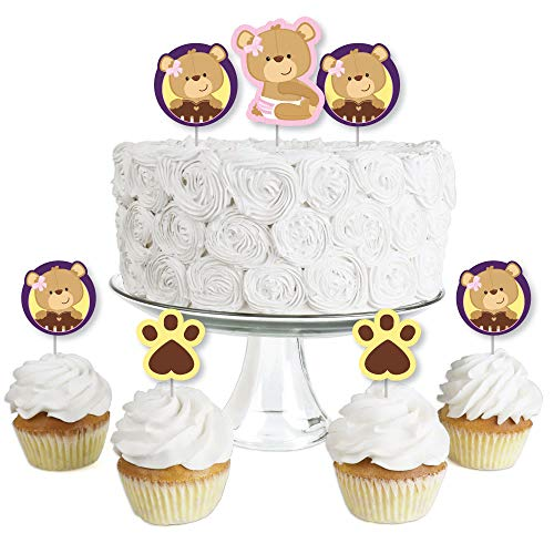 Baby Girl Teddy Bear - Dessert Cupcake Toppers - Baby Shower Clear Treat Picks - Set of - Teddy Miniature Bear Style