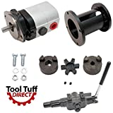 "ToolTuff Log Splitter Build Kit: 22 GPM 2-Stage Hydraulic Log Splitter Pump, Mount Coupler & A7 Detent Valve Kit (For 1"" Engine Crankshaft)"