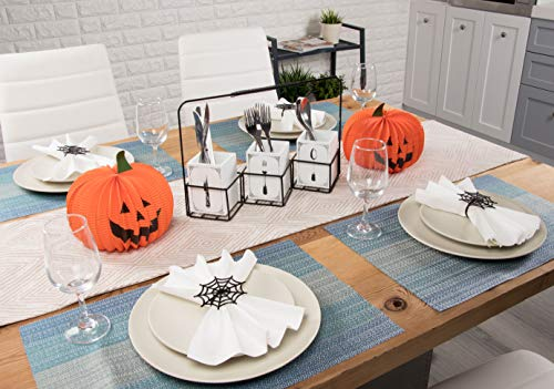 Juvale Halloween Napkin Rings - 6-Pack Black Spider Web Spooky Design Napkin Holder, Scary Costume Theme Party Supplies, Accessories, Lunch and Dinner Table Decoration by Juvale (Image #2)